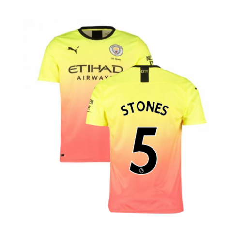 2019-2020 Manchester City Puma Third Football Shirt (STONES 5)