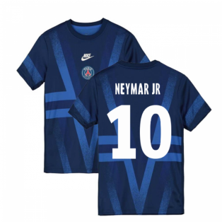 2019-2020 PSG Nike Pre-Match Training Shirt (Blue) (NEYMAR JR 10)