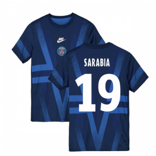2019-2020 PSG Nike Pre-Match Training Shirt (Blue) (Sarabia 19)