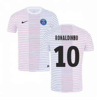 2019-2020 PSG Nike Pre-Match Training Shirt (White) - Kids (RONALDINHO 10)