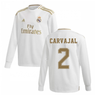 2019-2020 Real Madrid Adidas Home Long Sleeve Shirt (Kids) (CARVAJAL 2)