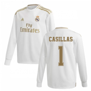 2019-2020 Real Madrid Adidas Home Long Sleeve Shirt (Kids) (CASILLAS 1)