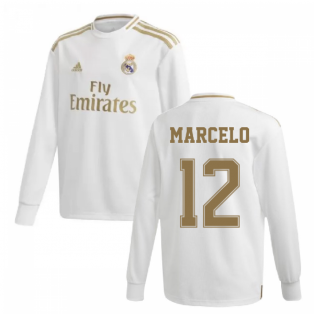 2019-2020 Real Madrid Adidas Home Long Sleeve Shirt (Kids) (MARCELO 12)