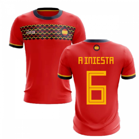 2020-2021 Spain Home Concept Football Shirt (A Iniesta 6)