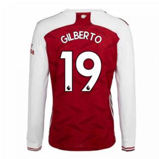 2020-2021 Arsenal Adidas Home Long Sleeve Shirt (GILBERTO 19)