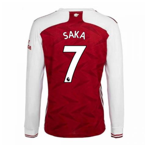 2020-2021 Arsenal Adidas Home Long Sleeve Shirt (SAKA 7)
