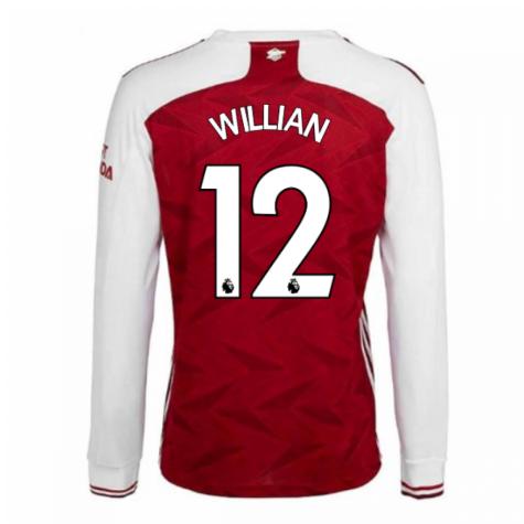 2020-2021 Arsenal Adidas Home Long Sleeve Shirt (WILLIAN 12)