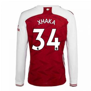 2020-2021 Arsenal Adidas Home Long Sleeve Shirt (XHAKA 34)