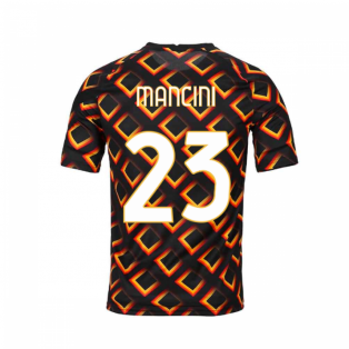 2020-2021 AS Roma Nike Pre-Match Training Jersey (Black) - Kid (MANCINI 23)