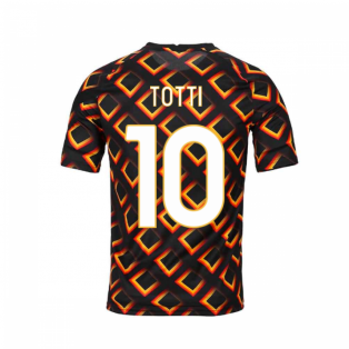 2020-2021 AS Roma Nike Pre-Match Training Jersey (Black) - Kid (TOTTI 10)