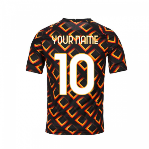 2020-2021 AS Roma Nike Pre-Match Training Jersey (Black) (Your Name)
