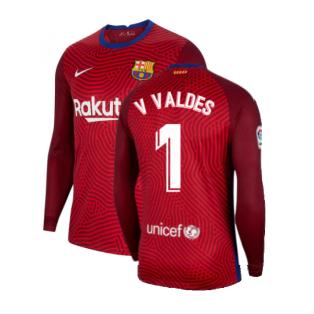 2020-2021 Barcelona Away Goalkeeper Shirt (Red) (V VALDES 1)