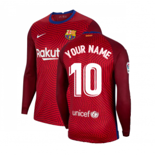 2020-2021 Barcelona Away Goalkeeper Shirt (Red) (Your Name)
