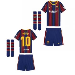 2020-2021 Barcelona Home Nike Little Boys Mini Kit (MESSI 10)