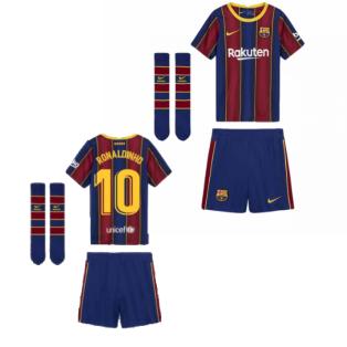 2020-2021 Barcelona Home Nike Little Boys Mini Kit (RONALDINHO 10)