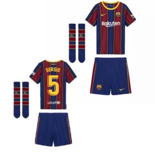 2020-2021 Barcelona Home Nike Little Boys Mini Kit (SERGIO 5)