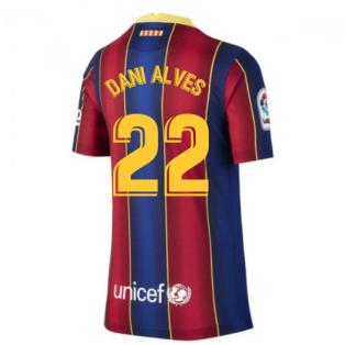 2020-2021 Barcelona Home Shirt (Kids) (DANI ALVES 22)