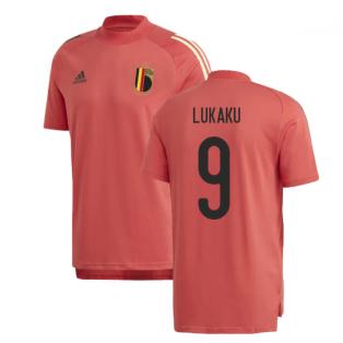 2020-2021 Belgium Adidas Training Tee (Red) (LUKAKU 9)