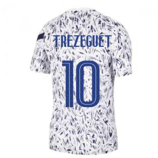 2020-2021 France Nike Dry Pre-Match Training Shirt (White) (TREZEGUET 10)