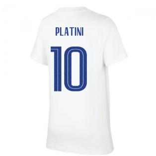 2020-2021 France Nike Evergreen Crest Tee (White) (PLATINI 10)