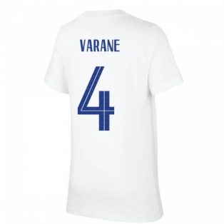 2020-2021 France Nike Evergreen Crest Tee (White) (VARANE 4)