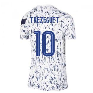 2020-2021 France Pre-Match Training Shirt (White) - Kids (TREZEGUET 10)