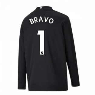 2020-2021 Man City Home Goalkeeper Shirt (Black) - Kids (BRAVO 1)