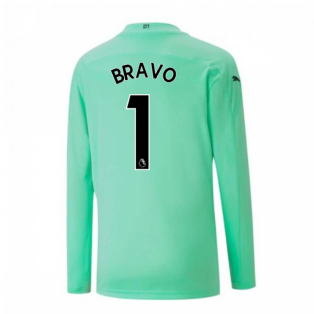 2020-2021 Man City Home Goalkeeper Shirt (Green) - Kids (BRAVO 1)