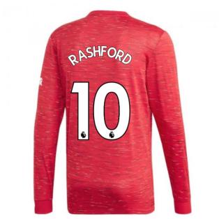 2020-2021 Man Utd Adidas Home Long Sleeve Shirt (RASHFORD 10)