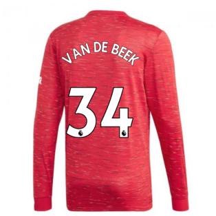 2020-2021 Man Utd Adidas Home Long Sleeve Shirt (VAN DE BEEK 34)