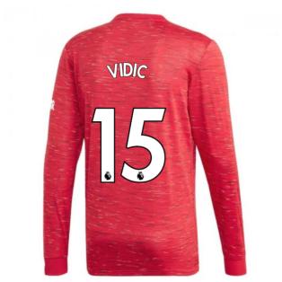 2020-2021 Man Utd Adidas Home Long Sleeve Shirt (VIDIC 15)