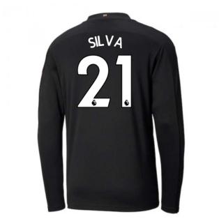 2020-2021 Manchester City Puma Away Long Sleeve Shirt (Kids) (SILVA 21)