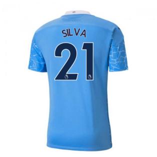 2020-2021 Manchester City Puma Home Authentic Football Shirt (SILVA 21)