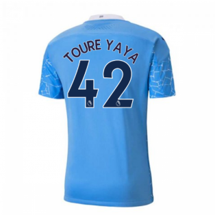 2020-2021 Manchester City Puma Home Authentic Football Shirt (TOURE YAYA 42)