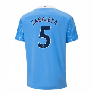 2020-2021 Manchester City Puma Home Football Shirt (Kids) (ZABALETA 5)