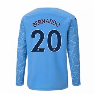 2020-2021 Manchester City Puma Home Long Sleeve Shirt (Kids) (BERNARDO 20)
