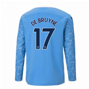 2020-2021 Manchester City Puma Home Long Sleeve Shirt (Kids) (DE BRUYNE 17)