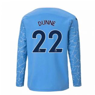 2020-2021 Manchester City Puma Home Long Sleeve Shirt (Kids) (DUNNE 22)