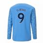 2020-2021 Manchester City Puma Home Long Sleeve Shirt (Kids) (G JESUS 9)