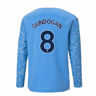 2020-2021 Manchester City Puma Home Long Sleeve Shirt (Kids) (GUNDOGAN 8)