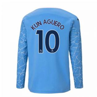 2020-2021 Manchester City Puma Home Long Sleeve Shirt (Kids) (KUN AGUERO 10)