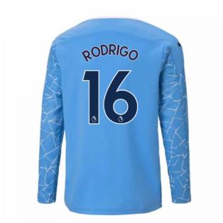 2020-2021 Manchester City Puma Home Long Sleeve Shirt (Kids) (RODRIGO 16)