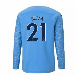 2020-2021 Manchester City Puma Home Long Sleeve Shirt (Kids) (SILVA 21)