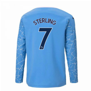 2020-2021 Manchester City Puma Home Long Sleeve Shirt (Kids) (STERLING 7)