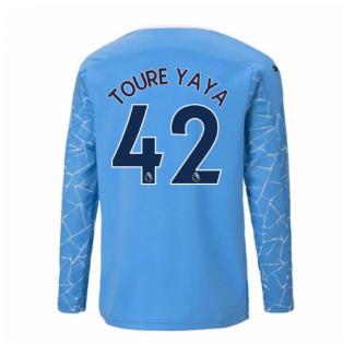 2020-2021 Manchester City Puma Home Long Sleeve Shirt (Kids) (TOURE YAYA 42)