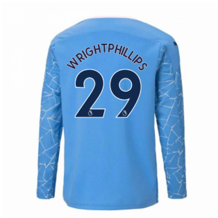 2020-2021 Manchester City Puma Home Long Sleeve Shirt (Kids) (WRIGHT-PHILLIPS 29)