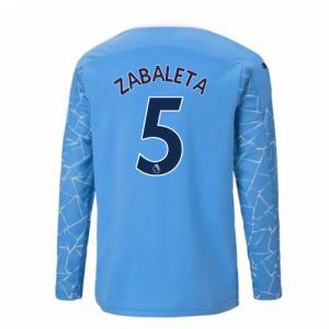 2020-2021 Manchester City Puma Home Long Sleeve Shirt (Kids) (ZABALETA 5)