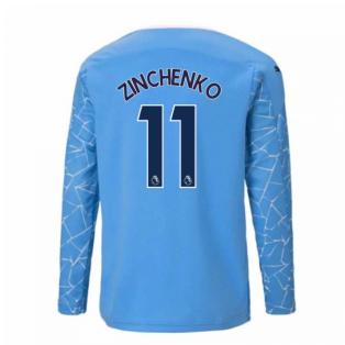 2020-2021 Manchester City Puma Home Long Sleeve Shirt (Kids) (ZINCHENKO 11)