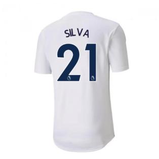 2020-2021 Manchester City Puma Stadium Jersey (White) - Kids (SILVA 21)