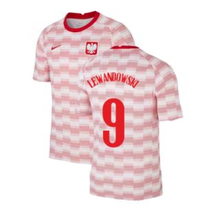 2020-2021 Poland Nike Pre-Match Training Shirt (White) (LEWANDOWSKI 9)